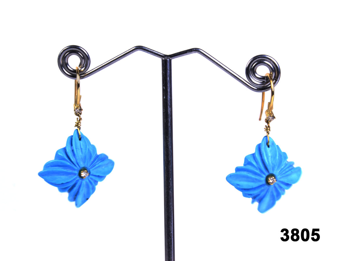 18 carat yellow gold earrings with carved turquoise flowers & diamonds from antiques of kingston