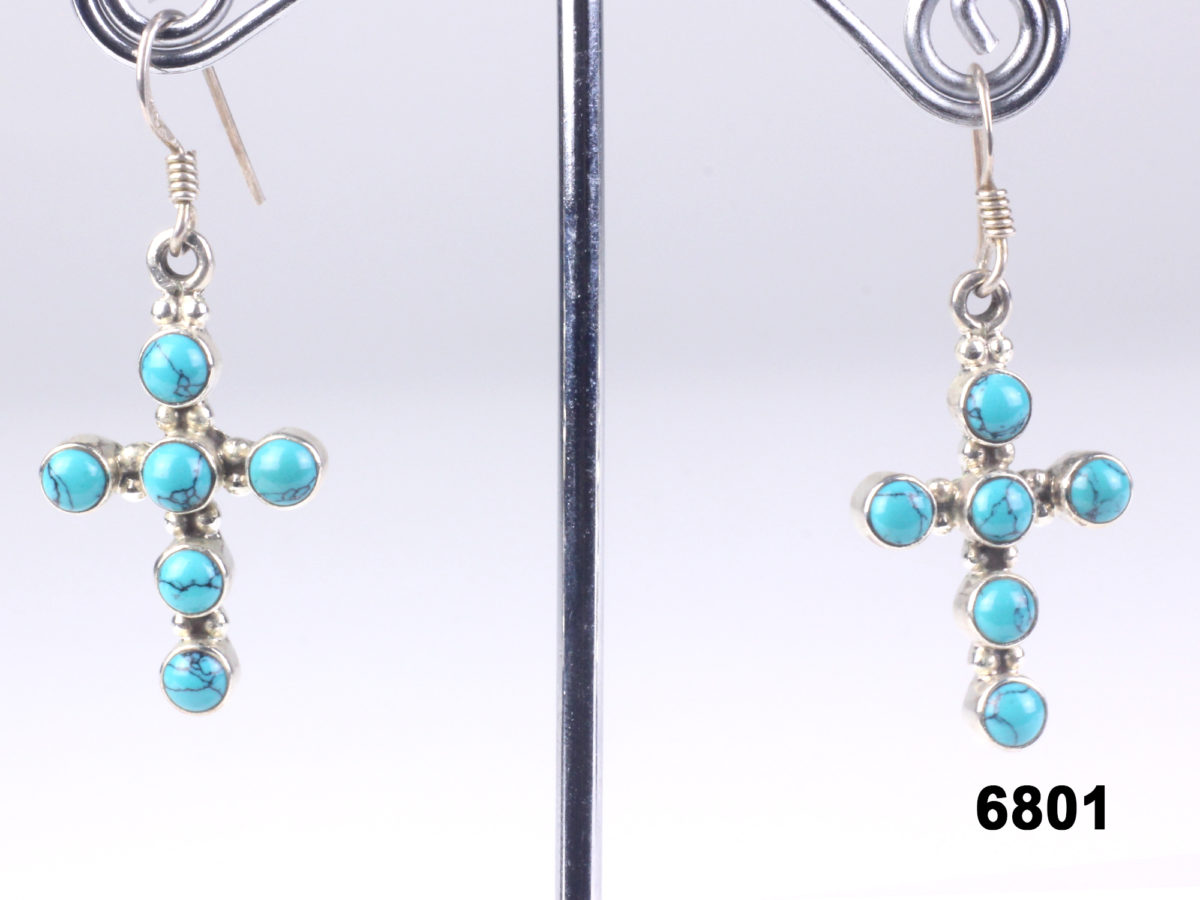 925 Sterling silver & turquoise crucifix earrings from antiques of kingston