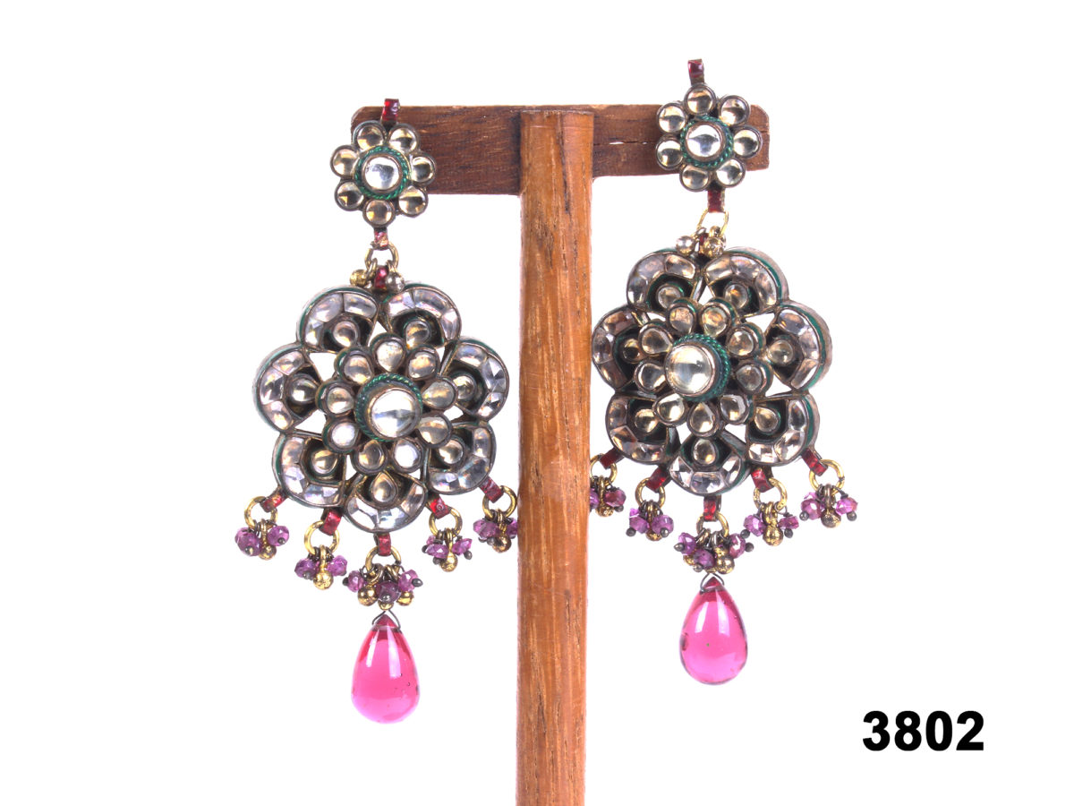 Indian gilt silver earrings with polki (unfinished natural diamonds) & pink stones at antiques of kingston