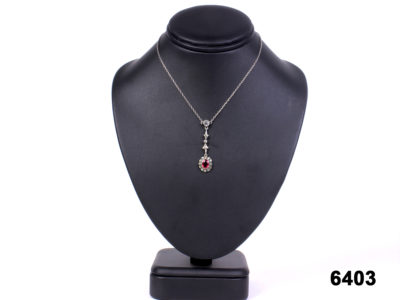 Front view of c1900s Edwardian continental silver necklace lavalier from Antiques of Kingston. 800 Continental silver mark.