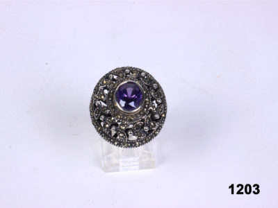 Modern Oval cut amethyst and marcasite 925 sterling silver ring from Antiques of Kingston. Size 7 / O.