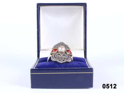Front view of 925 Sterling silver Art Deco style ring with central pearl, carnelian and marcasite from Antiques of Kingston