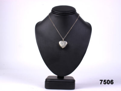 925 sterling silver engraved heart locket with gilt interior on a sterling silver chain from antiques of kingston