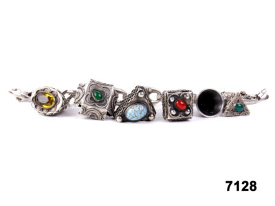 Front view of 800 Silver unusual Asian charm bracelet set with semi precious stones from Antiques of Kingston