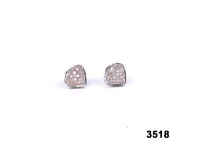 9 carat White gold heart-shaped earrings with diamonds (No hallmarks) from antiques of kingston