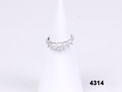 Front view of 14 carat White gold half eternity ring with cubic zirconia from Antiques of Kingston