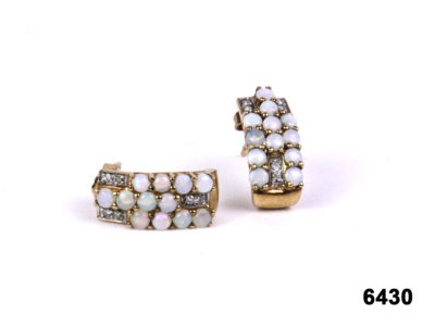 Vintage 9 carat gold & opal and diamond earrings now available at antiques of kingston