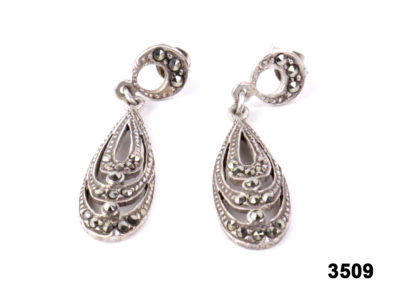 Modern pair of Art Deco style sterling silver & marcasite earrings at antiques of kingston