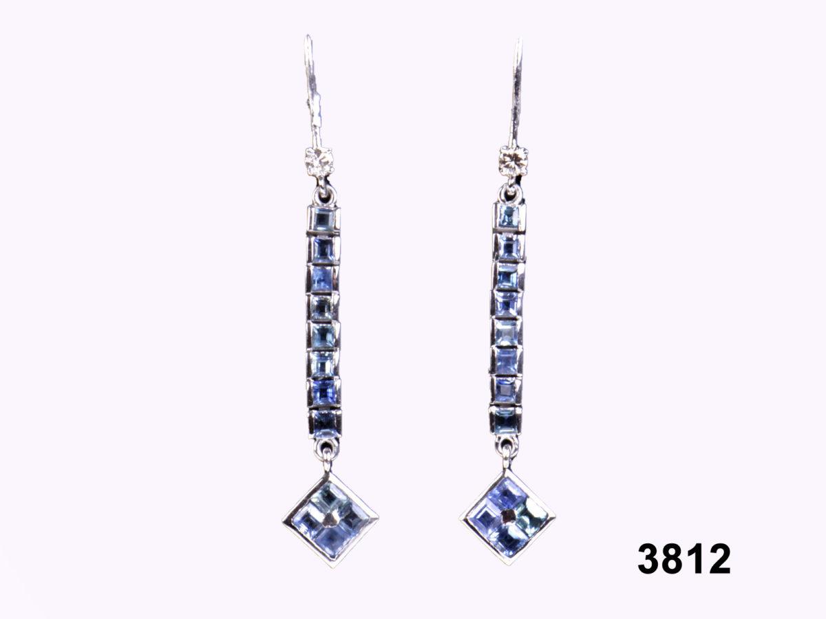 18 carat white Gold Sapphire & Diamond Earrings