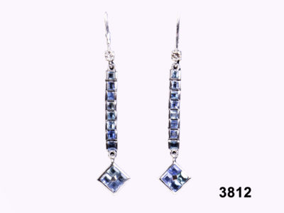 18 carat white Gold Sapphire & Diamond Earrings