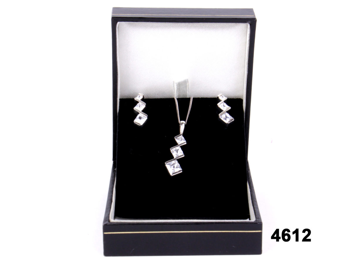 925 Sterling silver and cubic zirconia earrings & necklace set at antiques of kingston