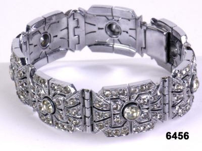 c1920s Art Deco Rhodium plated chrome and paste bracelet from antiques of kingston