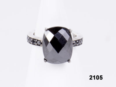 Front view of Thomas Sabo 925 Sterling silver faceted synthetic amethyst ring from Antiques of Kingston.