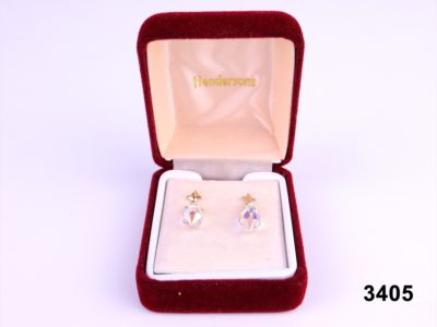 9 carat gold Austrian crystal drop earrings.