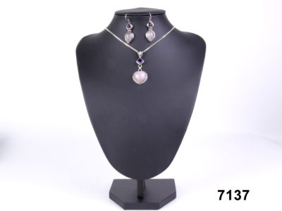 925 sterling silver earrings & necklace set with rose quartz & amethyst at antiques of kingston