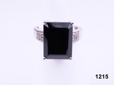 925 Sterling silver ring with large black onyx and marcasite stones on the shoulder from Antiques of Kingston