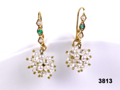 18k Yellow gold earrings with pearls & emeralds