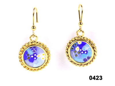 800 continental gilt silver millefiori earrings at antiques of kingston