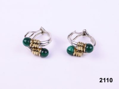 Pair of Links 925 sterling silver and gold and malachite earrings