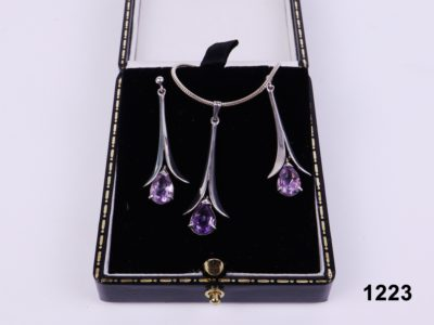 925 sterling silver and amethyst necklace and earrings