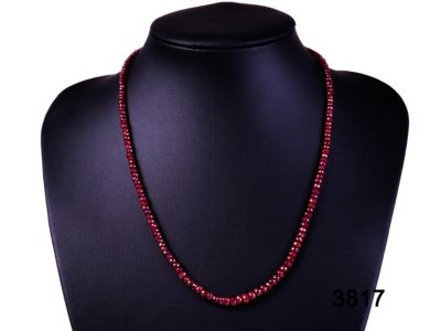 Faceted ruby bead necklace with 18 carat gold clasp from Antiques of Kingston
