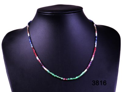 Sapphire, Ruby and Emerald bead necklace with 18 carat gold clasp from Antiques of Kingston