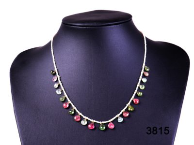 Natural pearl necklace with multi-coloured tourmaline droplets and 18 carat gold clasp from Antiques of Kingston