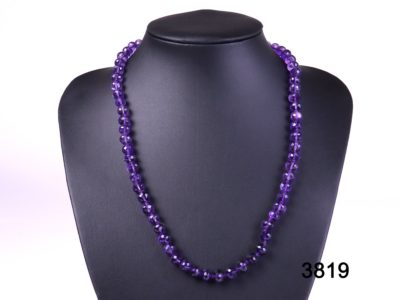 Faceted amethyst bead necklace with a sterling silver clasp from Antiques of kingston