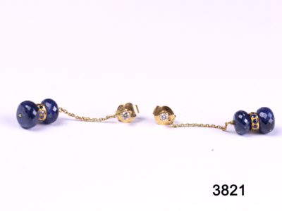 18 carat gold diamond and sapphire drop earrings from antiques of kingston
