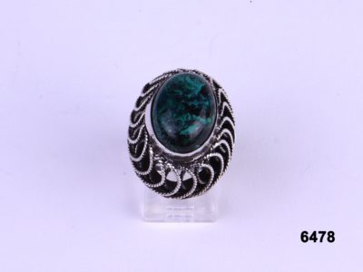 Front view of Israel Eilat stone silver ring Signed Reliven from Antiques of Kingston.