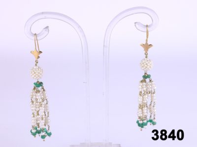18 carat yellow gold dangle earring with natural pearls and emeralds at antiques of kingston