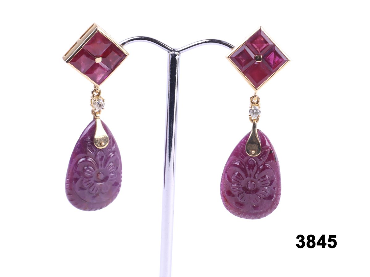18ct Gold carved natural ruby drop earrings with diamonds at antiques of kingston