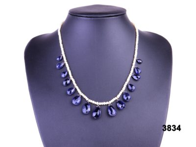Natural pearl necklace with iolite droplets at antiques of kingston