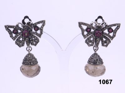 Vintage French Art Deco crystal clip on butterfly dangle earrings at Antiques of Kingston