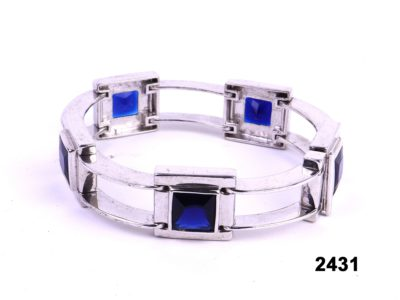 Chunky sterling silver bracelet with blue stones from antiques of kingston