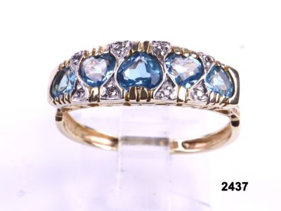 Vintage 9 carat Gold cocktail ring with 5 heart shaped aquamarines and diamonds from Antiques of Kingston