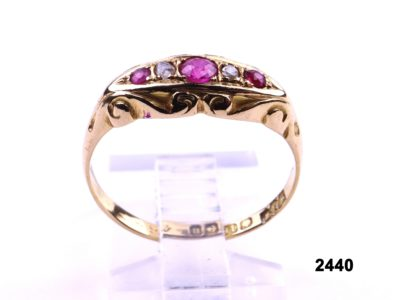 c1894 Birmingham assayed 18 carat gold ring set with rubies and old cut diamonds from 1919 from Antiques of Kingston