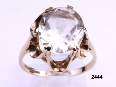 9 carat gold ring with oval cut pale mint green citrine stone from Antiques of Kingston
