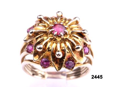 Vintage 9 carat gold princess ring set with deep pink small tourmaline stones from Antiques of Kingston