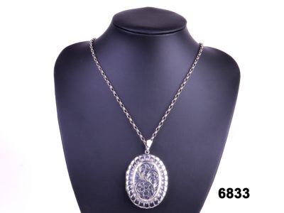 Birmingham assayed sterling silver large oval locket on silver chain from antiques of kingston
