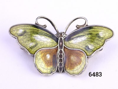 Hroar Prydz Norwegian silver and enamel butterfly brooch Main photo showing front of brooch