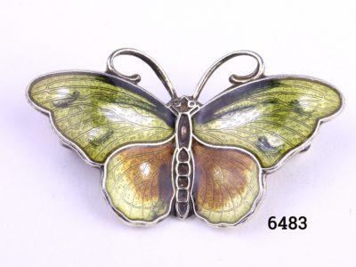Hroar Prydz Norwegian silver and enamel butterfly brooch Main photo showing front of brooch