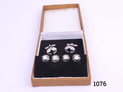 Vintage boxed set of mother of pearl cufflinks and studs Main photo showing cufflinks and studs in box