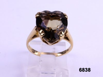 9 carat Gold ring with heart shaped smoky quartz from Antiques of Kingston