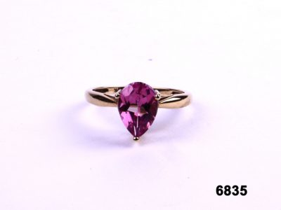 9 carat Gold ring with bright pink pear cut stone from Antiques of Kingston