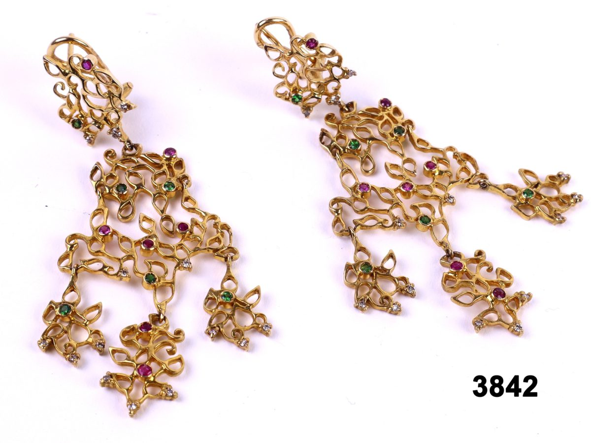 18 carat Gold multi gem dangle earrings with rubies, sapphires, emeralds and diamonds at antiques of kingston