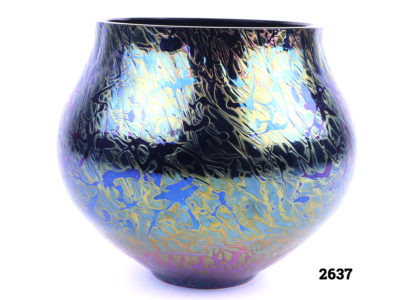 Royal Brierley bulbous vase in iridescent peacock blue, purple and golden yellow glass Measures 55mm in diameter at base and 110mm at top Main photo showing side view of the vase