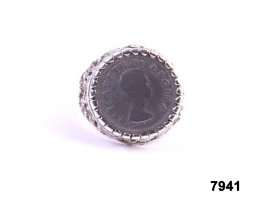 Silver ring with 1953 South African 3d coin from Antiques of Kingston