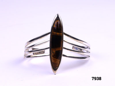 Un-hallmarked silver cuff bracelet with tigers eye Front view 1