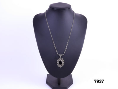 Silver Marcasite & Black Onyx Necklace Main photo Necklace and pendant